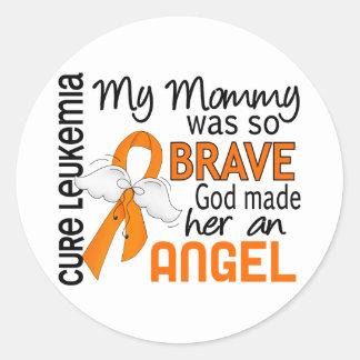 Angel 2 Mommy Leukemia Classic Round Sticker