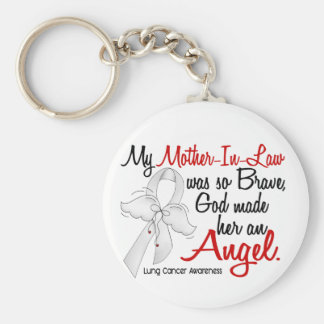 Angel 2 Mother-In-Law Lung Cancer Basic Round Button Keychain