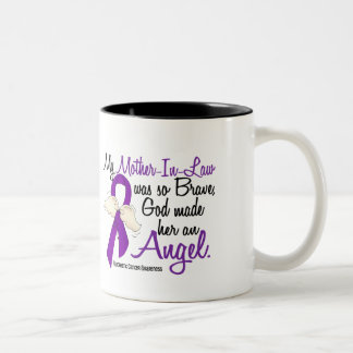 Angel 2 Mother-In-Law Pancreatic Cancer Two-Tone Coffee Mug