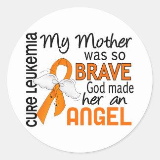 Angel 2 Mother Leukemia Classic Round Sticker