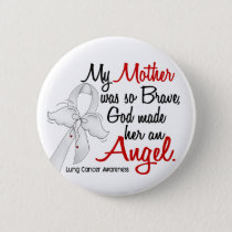 Angel 2 Mother Lung Cancer Pinback Button