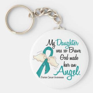 Angel 2 Ovarian Cancer Daughter Basic Round Button Keychain