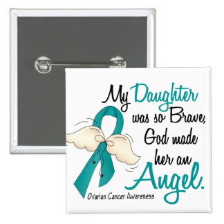 Angel 2 Ovarian Cancer Daughter Pinback Button