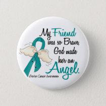 Angel 2 Ovarian Cancer Friend Pinback Button