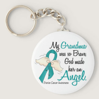 Angel 2 Ovarian Cancer Grandma Keychain