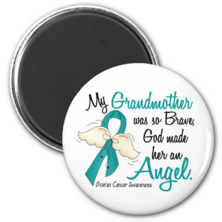 Angel 2 Ovarian Cancer Grandmother 2 Inch Round Magnet
