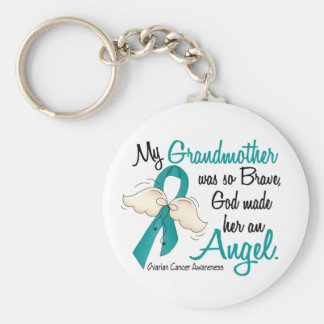 Angel 2 Ovarian Cancer Grandmother Basic Round Button Keychain
