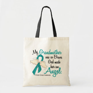 Angel 2 Ovarian Cancer Grandmother Tote Bag