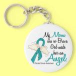 Angel 2 Ovarian Cancer Mom Basic Round Button Keychain