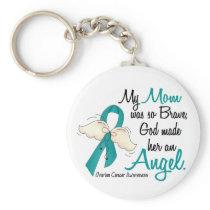 Angel 2 Ovarian Cancer Mom Keychain