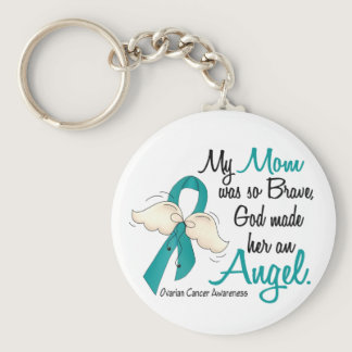 Angel 2 Ovarian Cancer Mom Keychain
