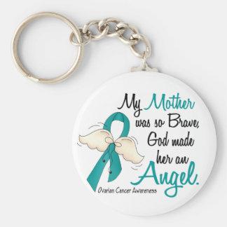 Angel 2 Ovarian Cancer Mother Basic Round Button Keychain