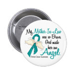Angel 2 Ovarian Cancer Mother-In-Law Button