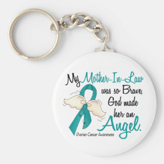 Angel 2 Ovarian Cancer Mother-In-Law Basic Round Button Keychain