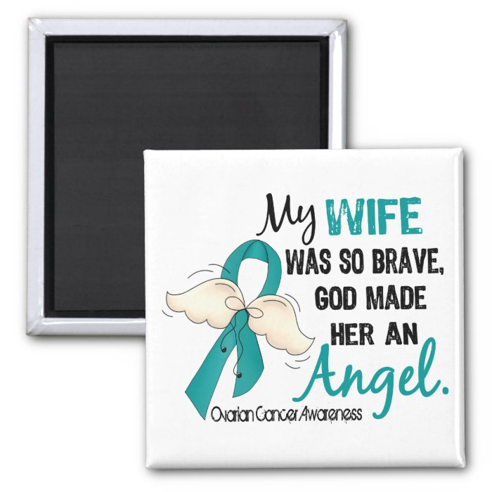 Angel 2 Ovarian Cancer Wife 2 Inch Square Magnet