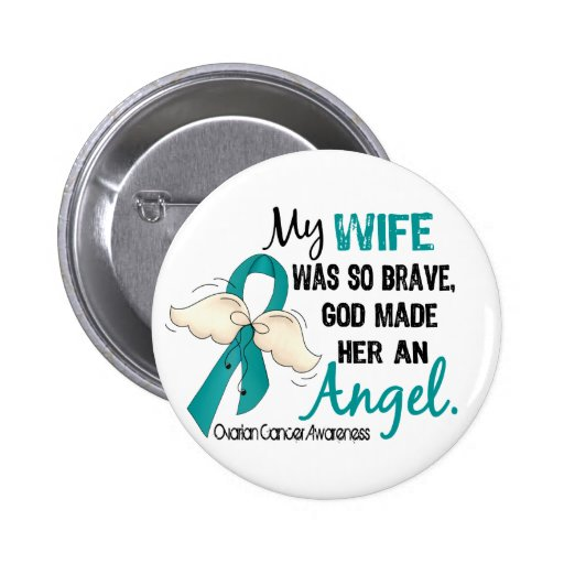 Angel 2 Ovarian Cancer Wife Pinback Buttons