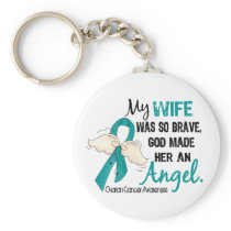 Angel 2 Ovarian Cancer Wife Keychain
