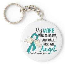 Angel 2 Ovarian Cancer Wife Keychain