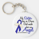 Angel 2 Sister Colon Cancer Basic Round Button Keychain