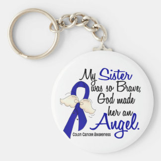 Angel 2 Sister Colon Cancer Keychain