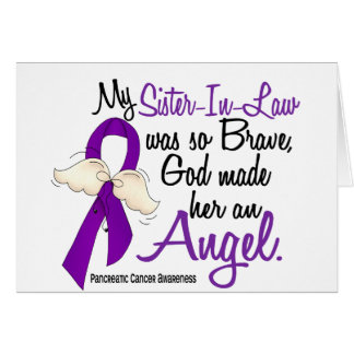 Angel 2 Sister-In-Law Pancreatic Cancer Greeting Card