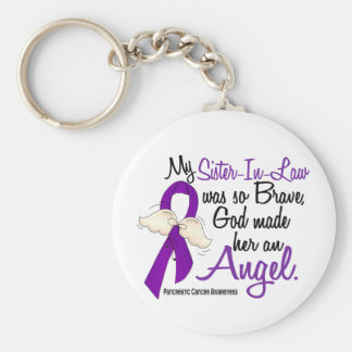 Angel 2 Sister-In-Law Pancreatic Cancer Keychain