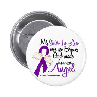 Angel 2 Sister-In-Law Pancreatic Cancer Pinback Button