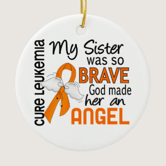 Angel 2 Sister Leukemia Ceramic Ornament