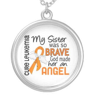 Angel 2 Sister Leukemia Round Pendant Necklace