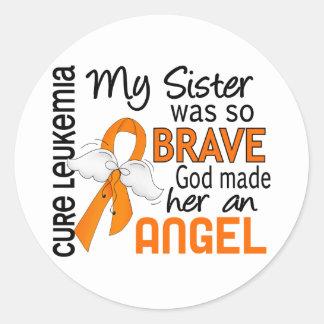 Angel 2 Sister Leukemia Classic Round Sticker