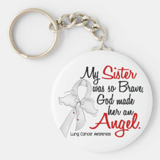 Angel 2 Sister Lung Cancer Basic Round Button Keychain