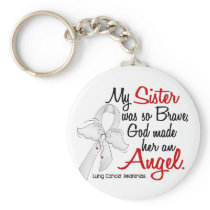 Angel 2 Sister Lung Cancer Keychain