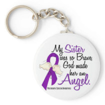Angel 2 Sister Pancreatic Cancer Keychain