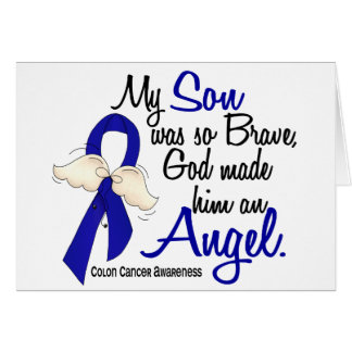 Angel 2 Son Colon Cancer Greeting Cards