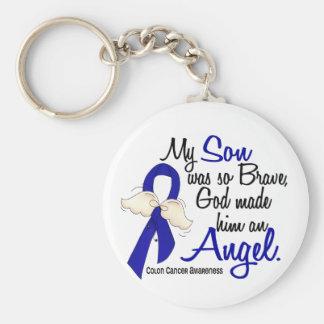 Angel 2 Son Colon Cancer Basic Round Button Keychain