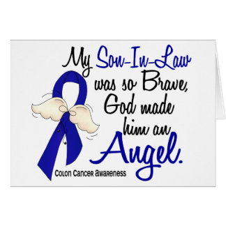 Angel 2 Son-In-Law Colon Cancer Greeting Cards