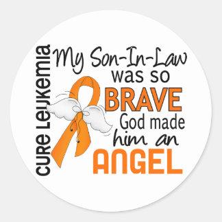 Angel 2 Son-In-Law Leukemia Classic Round Sticker
