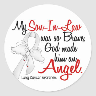 Angel 2 Son-In-Law Lung Cancer Classic Round Sticker