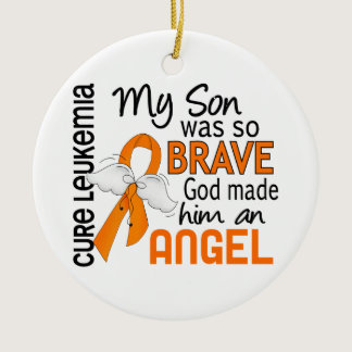 Angel 2 Son Leukemia Ceramic Ornament