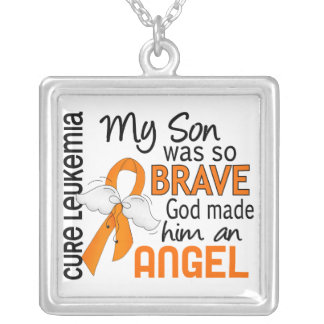 Angel 2 Son Leukemia Square Pendant Necklace