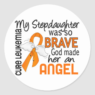 Angel 2 Stepdaughter Leukemia Classic Round Sticker