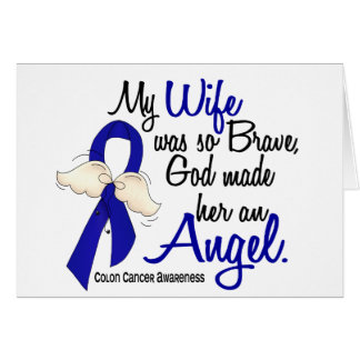 Angel 2 Wife Colon Cancer Greeting Card