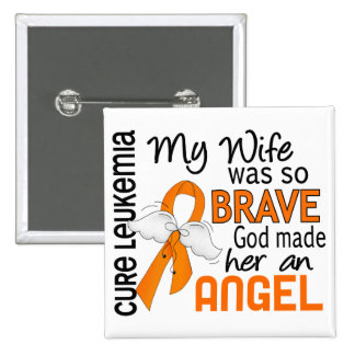 Angel 2 Wife Leukemia 2 Inch Square Button