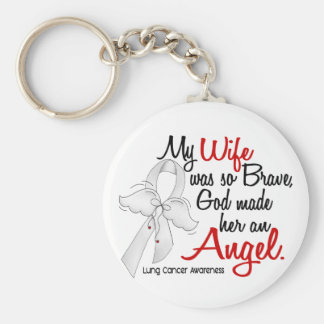 Angel 2 Wife Lung Cancer Keychain