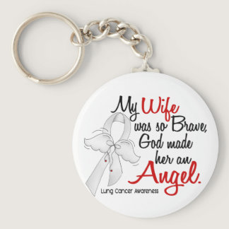 Angel 2 Wife Lung Cancer Keychain