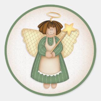 Ángel 4 del navidad - pegatinas del día de fiesta etiquetas redondas