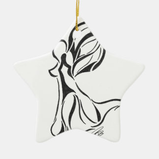 Angel Abstract Drawing Black Ink on White Back Ceramic Ornament