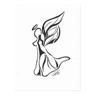 Angel Abstract Drawing Black Ink on White Back Postcard