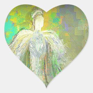 Ángel abstracto del brillo pegatina en forma de corazón