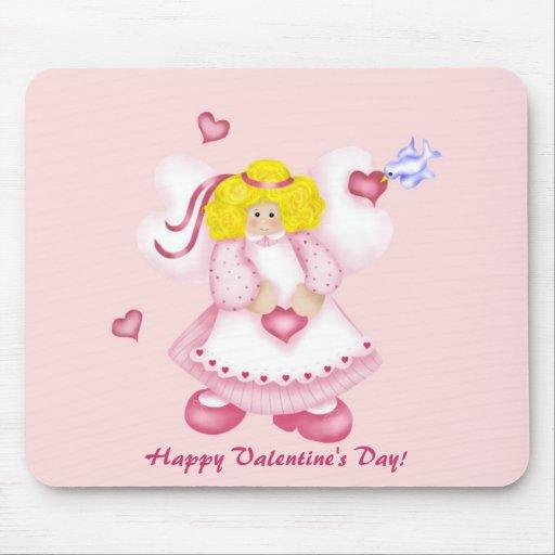 Ángel adorable lindo 1 de los corazones alfombrilla de raton